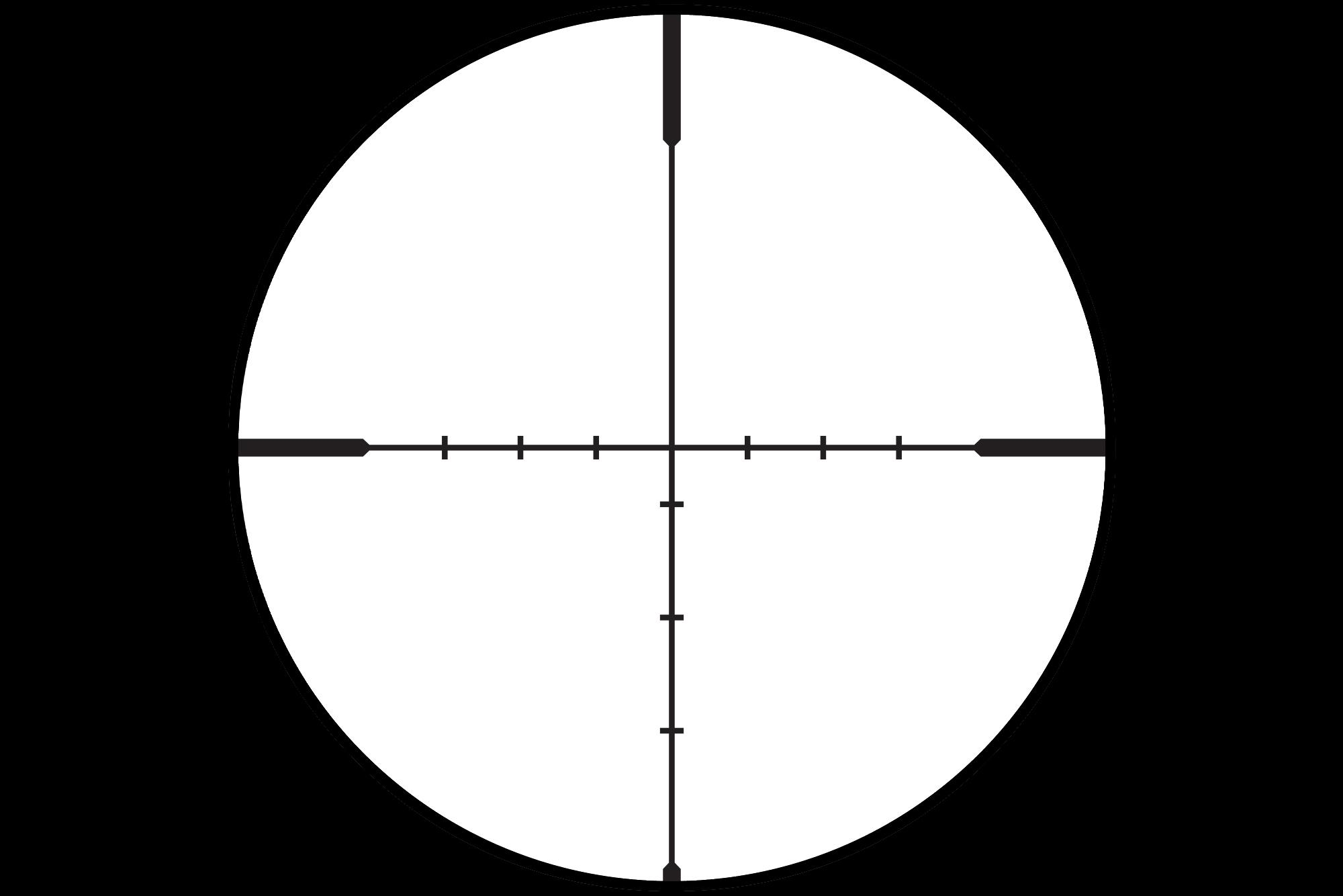 The Vortex optics Crossfire II dead hold bdc reticle at the highest magnification setting