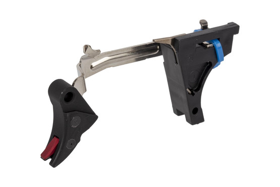 The Zev Technologies Ultimate glock trigger upgrade kit comes with a red safety lever and skeletonized striker