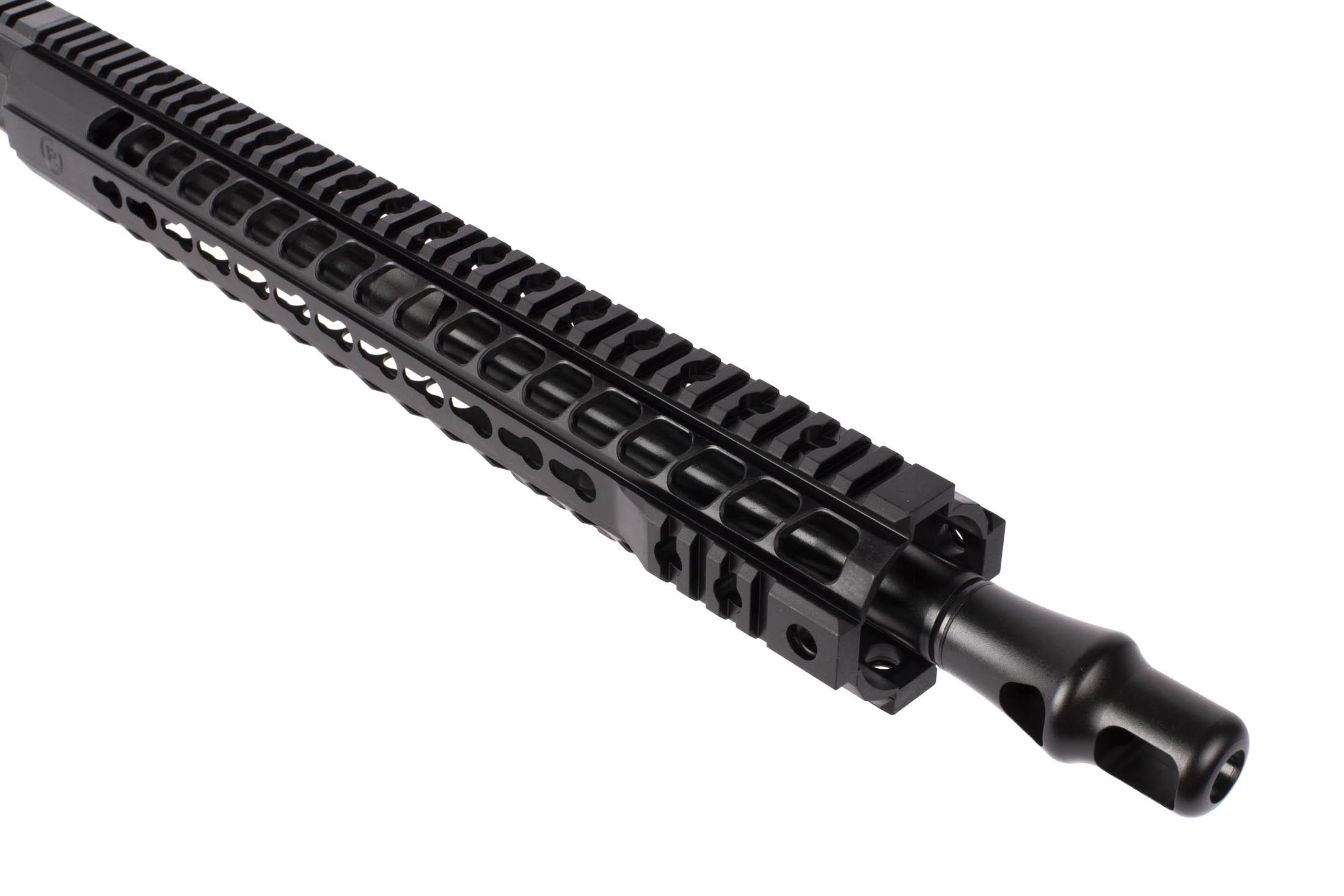 Radical Firearms .458 SOCOM complete AR-15's 16in barrel has a Panzer style muzzle brake.
