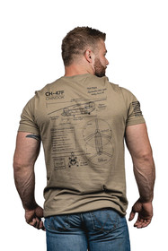 Nine Line Chinook CH-47 Schematic T-Shirt is a crewneck with short sleeves