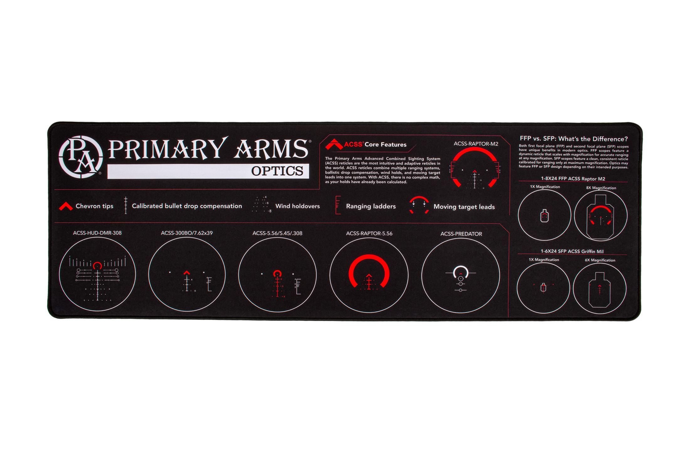 The Primary Arms Gun Cleaning Mat with ACSS Reticle graphics features durable water resistant Neoprene material and braided edges