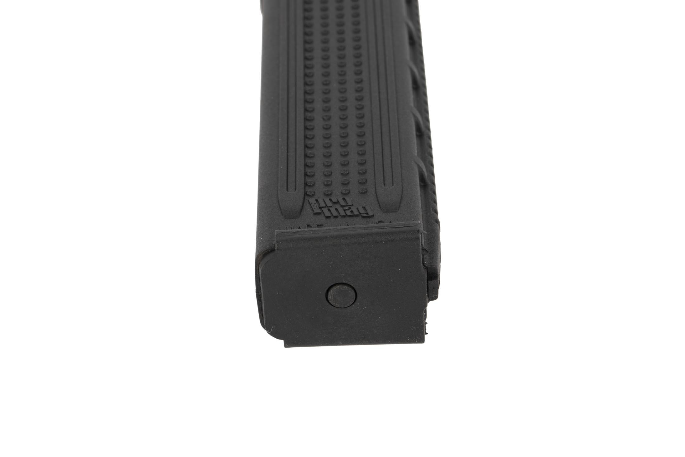 The ProMag colt pattern 9mm magazine is made from polymer and holds 32 rounds of ammunition