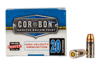 Corbon 9mm +P self defense ammunition features a 125 grain jacketed hollow point and Nickel plated brass case