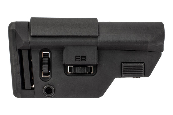 B5 Systems AR10 collapsible precision stock features a black reinforced polymer construction