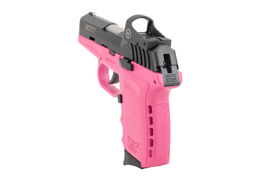 SCCY CPX-2 sub compact 9mm pistol with red dot and pink frame has a 10 round capacity