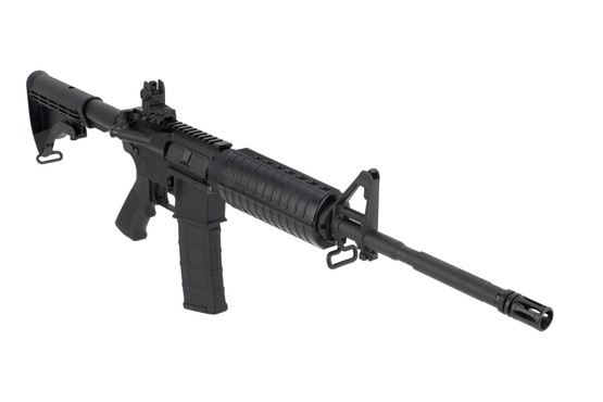 Colt M4 carbine features an A2 front sight gas block