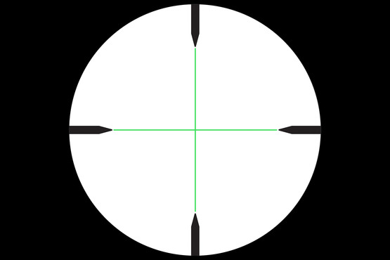 Credo 3-9x40 optic features a standard Duplex reticle that is green illuminated