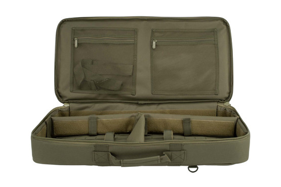 Discreet 26-inch green rifle case by NcSTAR features a fully padded interior with hook and loop fasteners for added protection