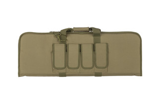 NC Star lightweight olive drab green carbine case is 36 inches long and 13 inches tall with multiple magazine and accessory pockets