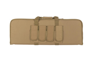 NC Star lightweight tan carbine case is 36 inches long and 13 inches tall with multiple magazine and accessory pockets