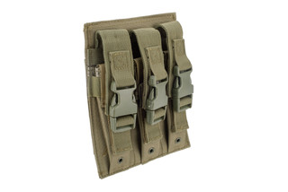 NcSTAR VISM triple magazine pouch for hi-capacity handgun magazines in green with adjustable buckle closure