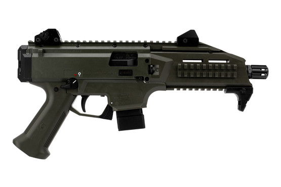 CZ USA Scorpion EVO III pistol with 10 round magazine features a durable olive drab green finish.