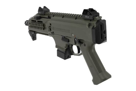 CZ USA Scorpion EVO3 S1 pistol comes with back up iron sights in olive drab