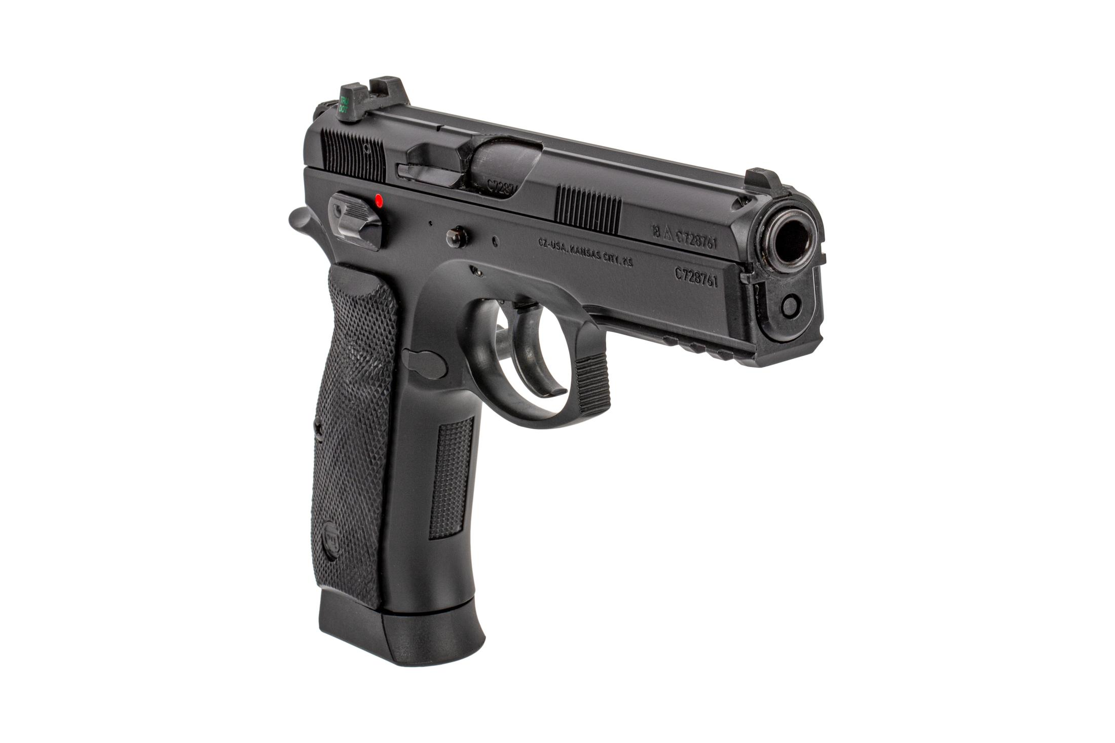 CZ-75 SP-01 full size pistol with Tru Dot night sights and full length accessory rail is chambered in 9mm Luger