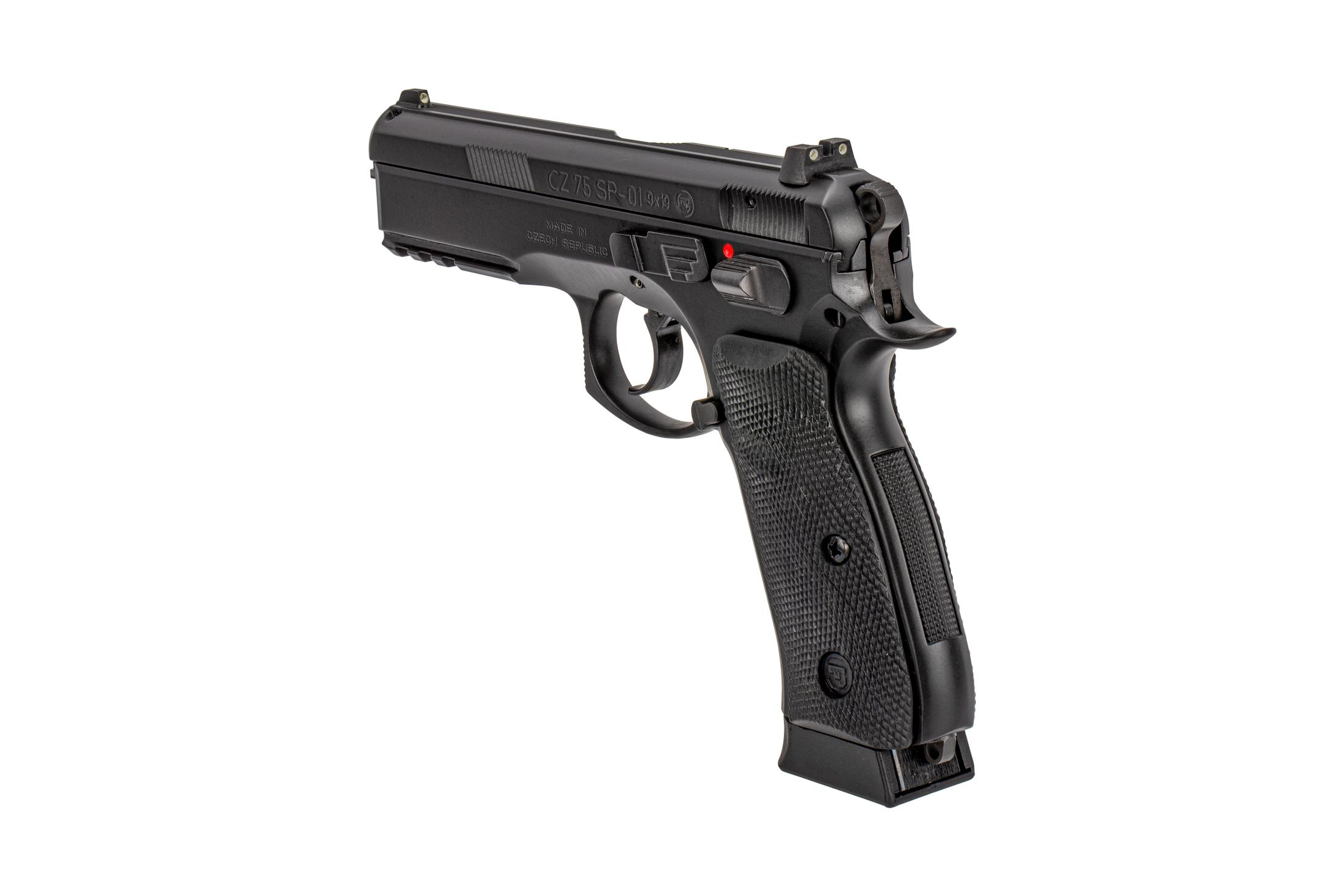 CZ USA 9mm SP-01 pistol with night sights, ambidextrous safety selector, and ergonomic grips.