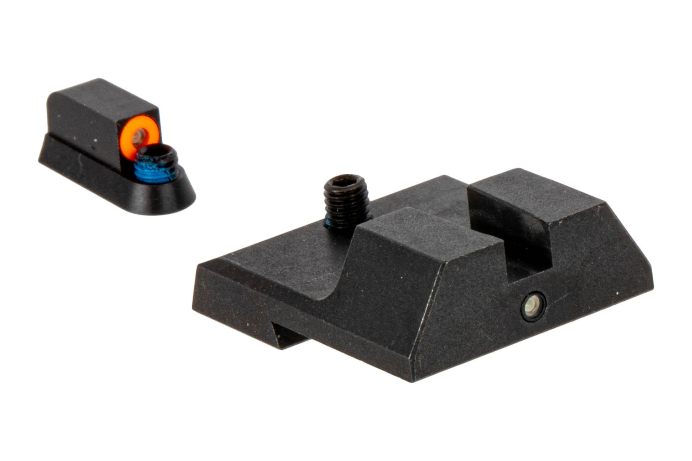 Night Fision Accur8 Perfect Dot Night Sight Set with square notch, Orange front and Black rear ring for the CZ P10C.