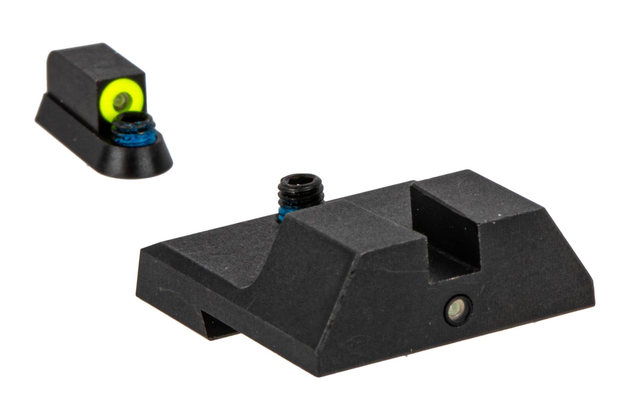 Night Fision Accur8 Perfect Dot Night Sight Set with square notch, Yellow front and Black rear ring for the CZ P10C.