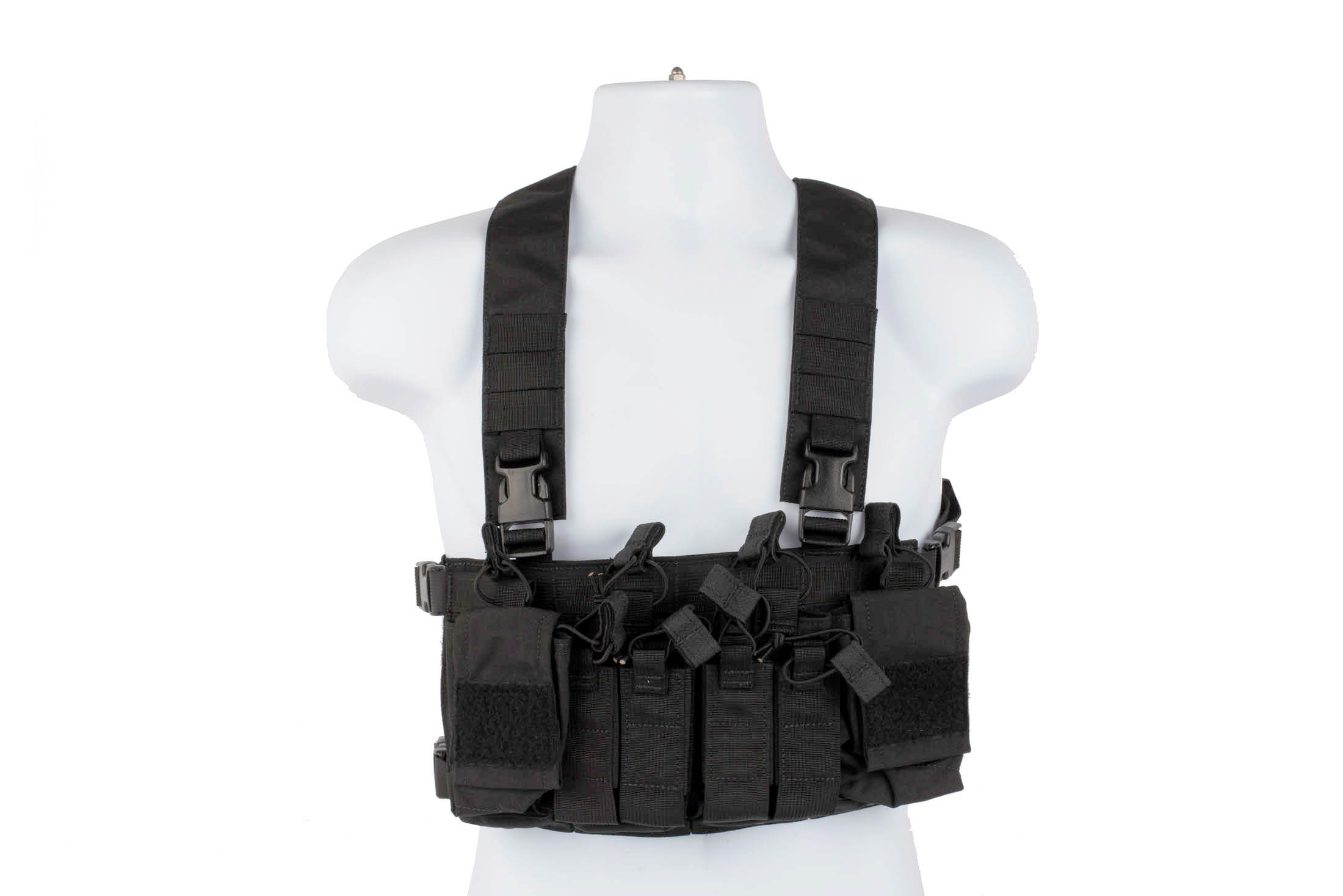 Haley Strategic D3CRX black chest rig features a comfortable X-harness and secure velcro accessory attachment