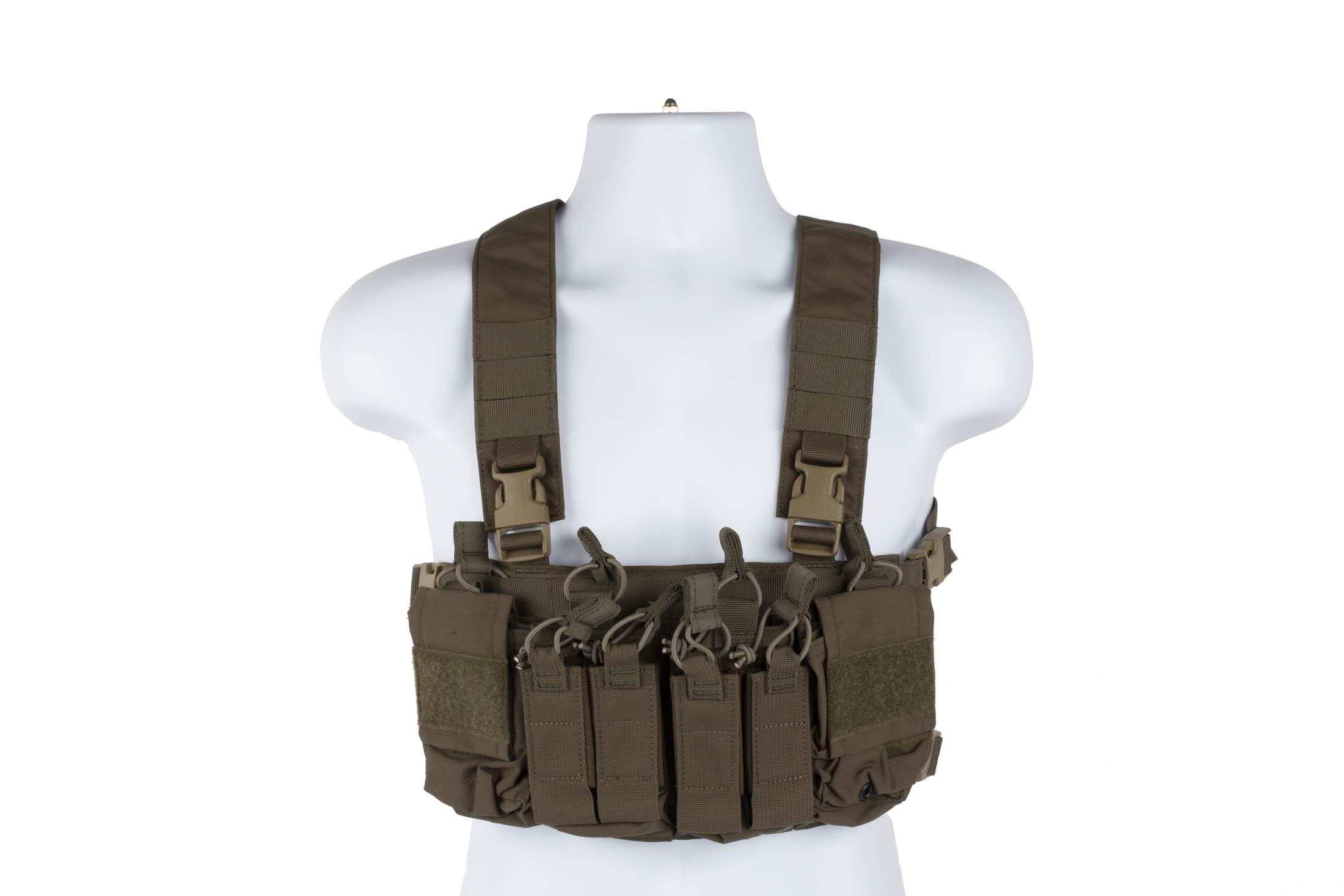 Haley Strategic D3CRX ranger green chest rig features a comfortable X-harness and secure velcro accessory attachment