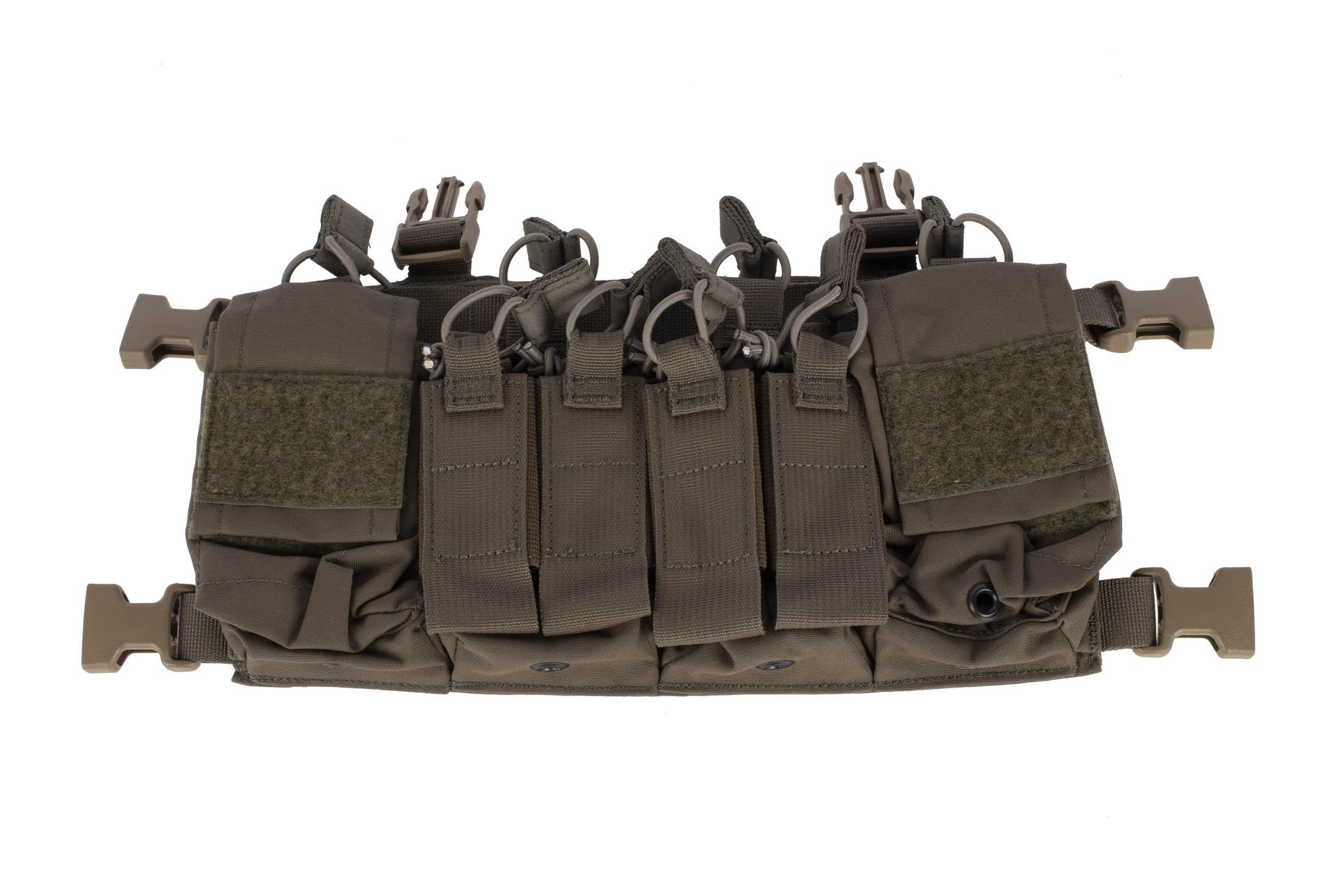 Haley Strategic D3CRX chest rig in ranger green includes twin double mag pouches and four multi-mission pouches