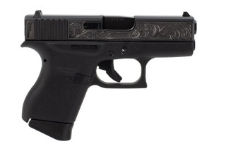 Glock 43 9mm pistol with engraved slide