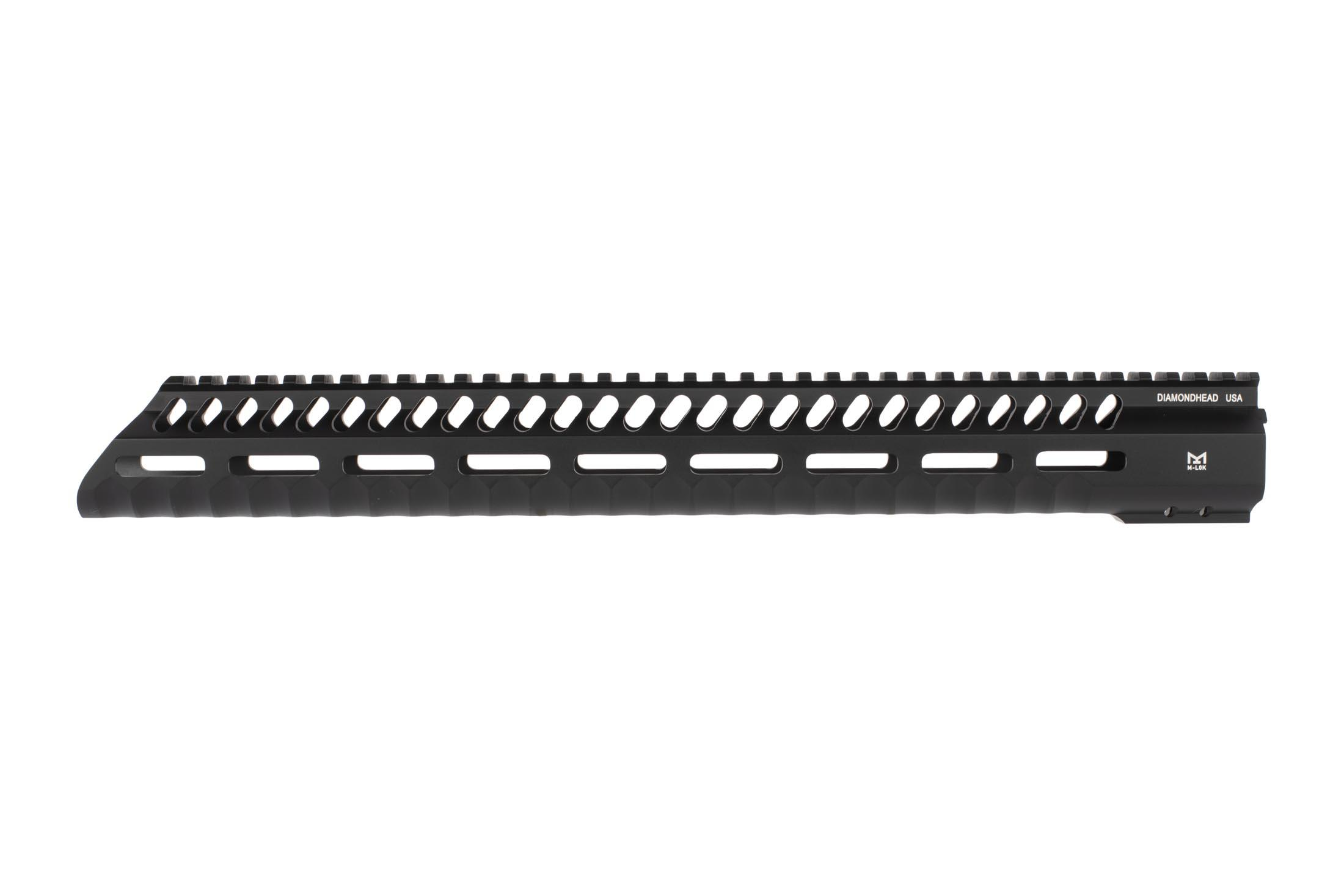 Diamondhead USA 3rd series 15in VRS-T M-LOK AR 15 freefloat handguard has a sloped nose with fun aesthetics