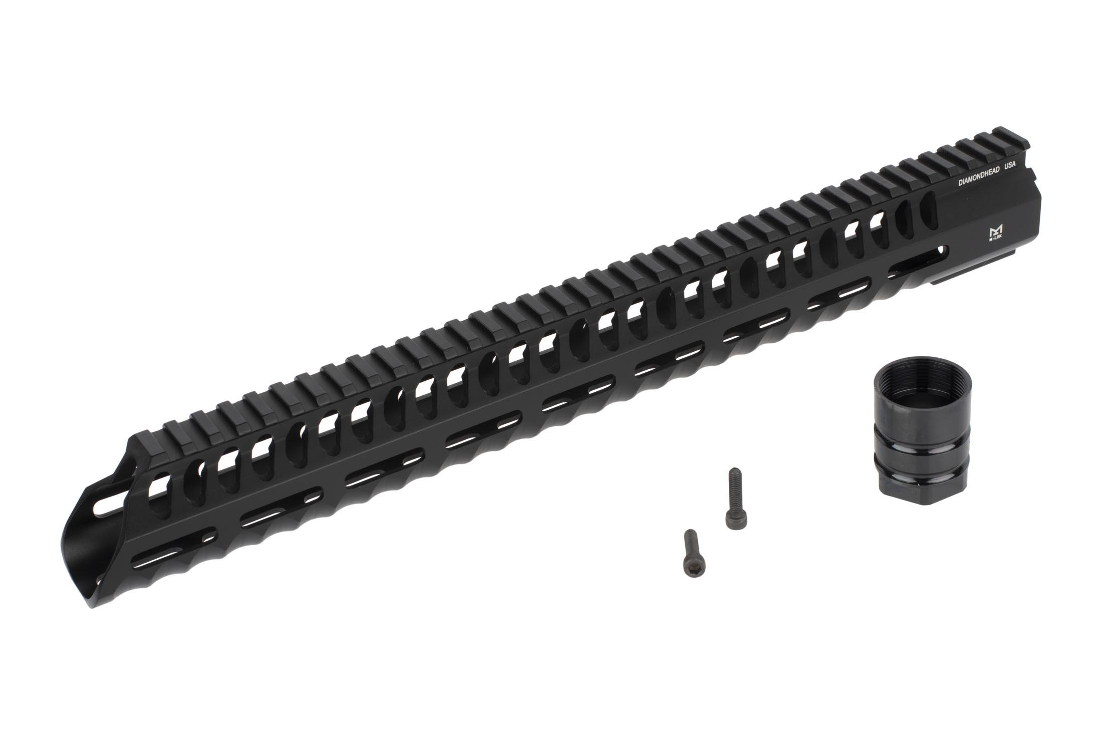 Diamondhead USA free float 15in VRS-T M-LOK handguard includes a steel barrel nut and mounting hardware