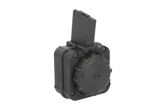 The ProMag Industries DRM-A8 65 round AR-15 drum magazine features a polymer body with steel feed lips