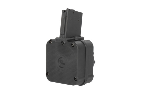 The Pro Mag drum magazine for ar15 holds a total of 65 rounds of 5.56 ammunition