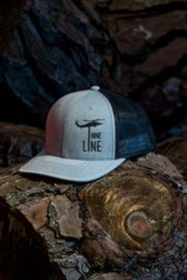 Nine Line Dropline Snapback Trucker Hat in grey, front view