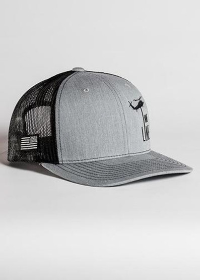 Nine Line Dropline Snapback Trucker Hat in grey, front left view