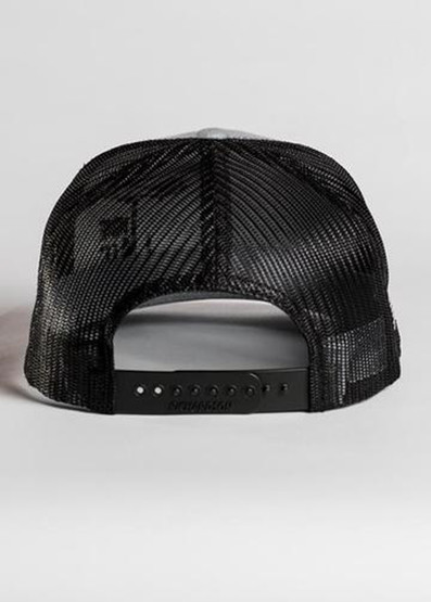 Nine Line Dropline Snapback Trucker Hat in grey, rear view
