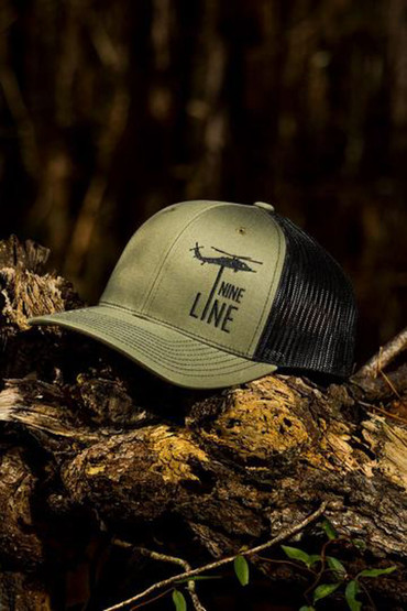 Nine Line Dropline Snapback Trucker Hat in olive drab green, front view