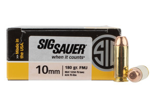 SIG Sauer 10mm Auto FMJ ammo in a box of 50 rounds