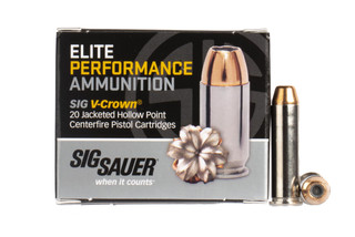 SIG Sauer .357 Magnum 125gr Elite Performance V-Crown JHP ammunition with nickel coated case, 20-rounds per box