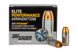 The Sig V-Crown .45 ACP jacketed Hollow Point ammo features a 200 grain bullet