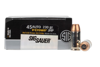 Sig Elite V-Crown .45 ACP 230gr JHP Ammo with brass casing