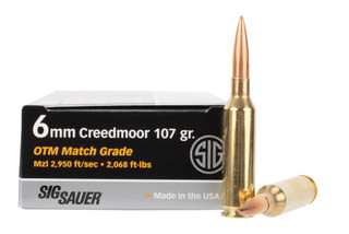 SIG 6mm Creedmoor ammo features the Sierra MatchKing open tip match bullet