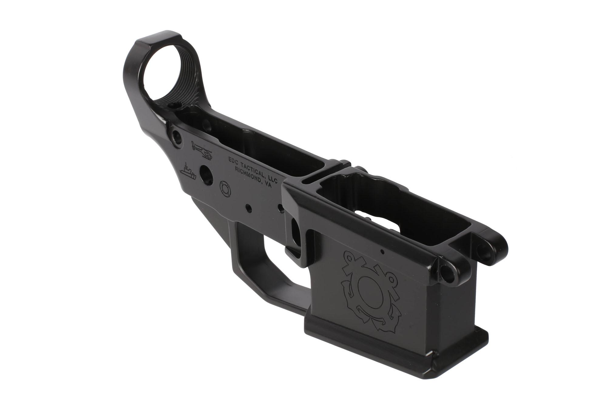 EDC Tactical special edition stripped AR-15 billet lower reciever with Coast Guard roll mark