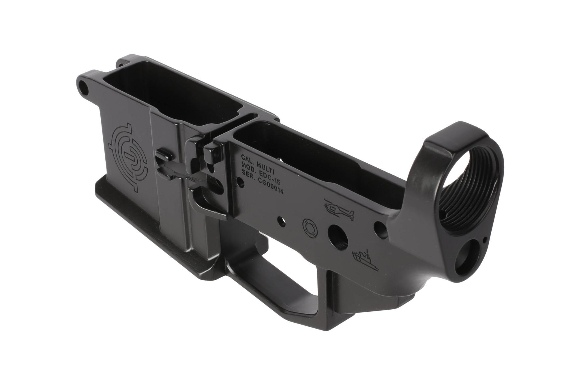 EDC Tactical stripped billet special edition Coast Guard AR15 lower receiver is multi-caliber marked