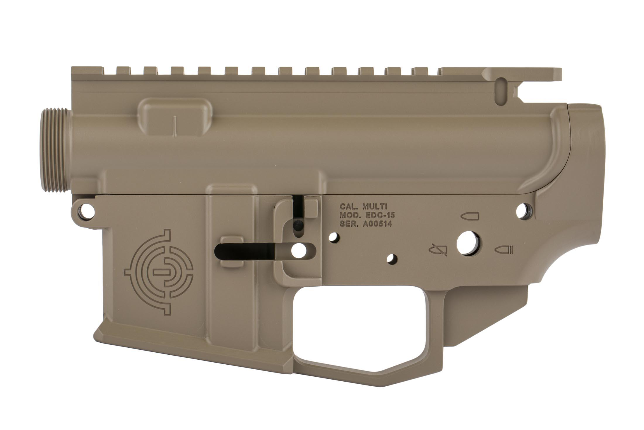 EDC cut AR-15 receiver set from EDC Tactical with FDE finish has an integral winterized trigger guard compatible with gloves.