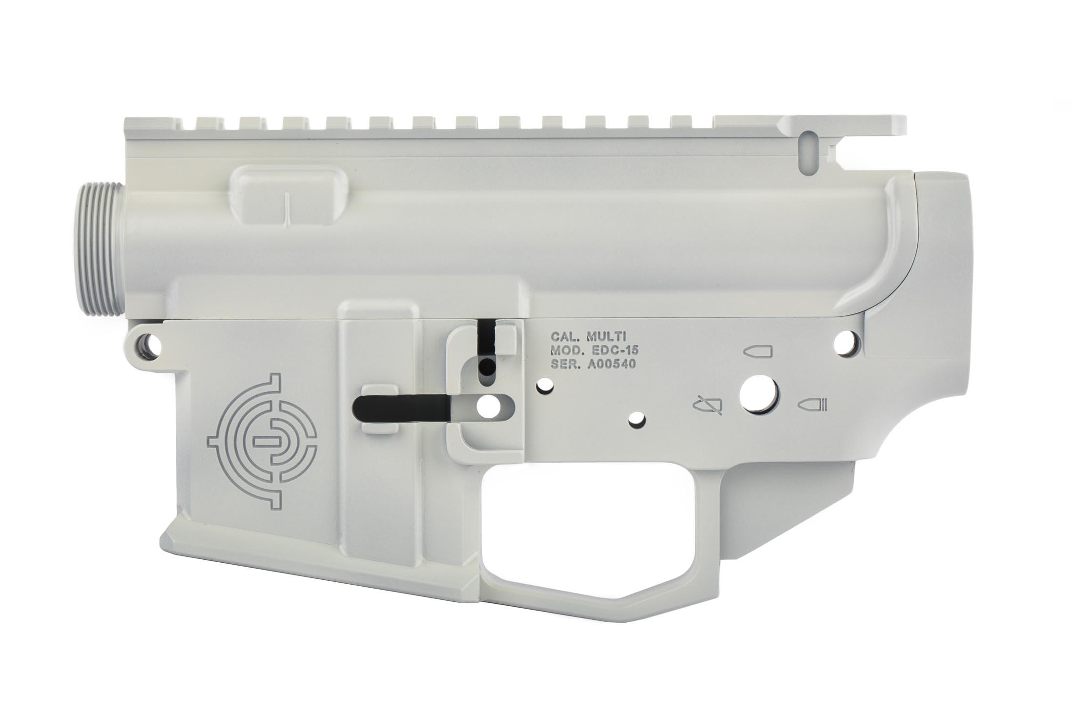 EDC cut AR-15 receiver set from EDC Tactical with White finish has an integral winterized trigger guard compatible with gloves.