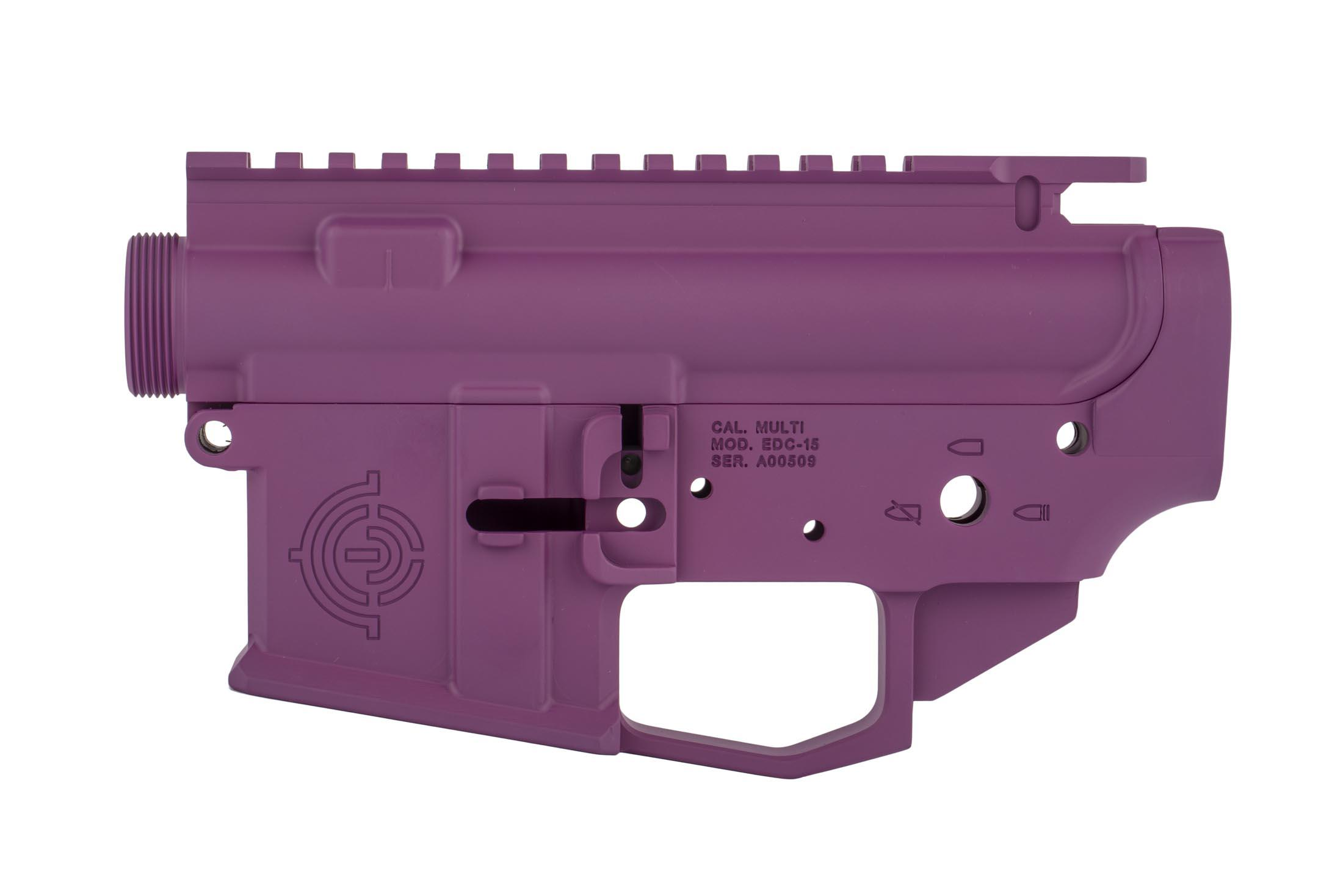 EDC cut AR-15 receiver set from EDC Tactical with purple finish has an integral winterized trigger guard compatible with gloves.