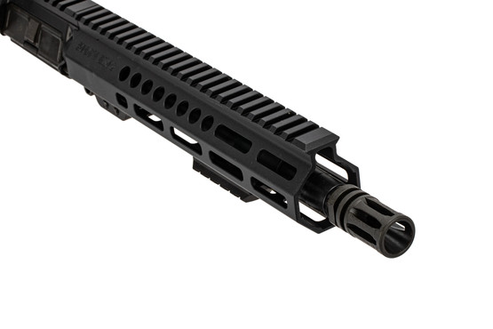 "Sons of Liberty Gun Works AR upper with 10.5"" barrel, carbine gas system, and A2 flash hider."
