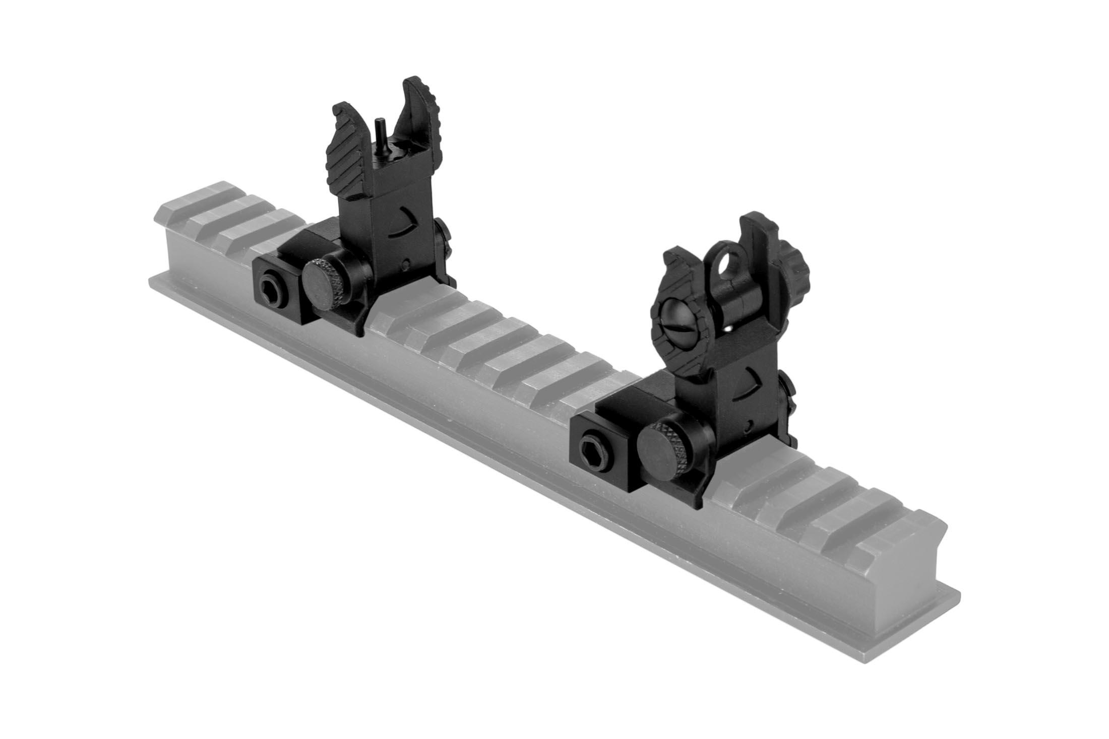 The Guntec USA EZ back up iron sights attach directly to picatinny rail systems