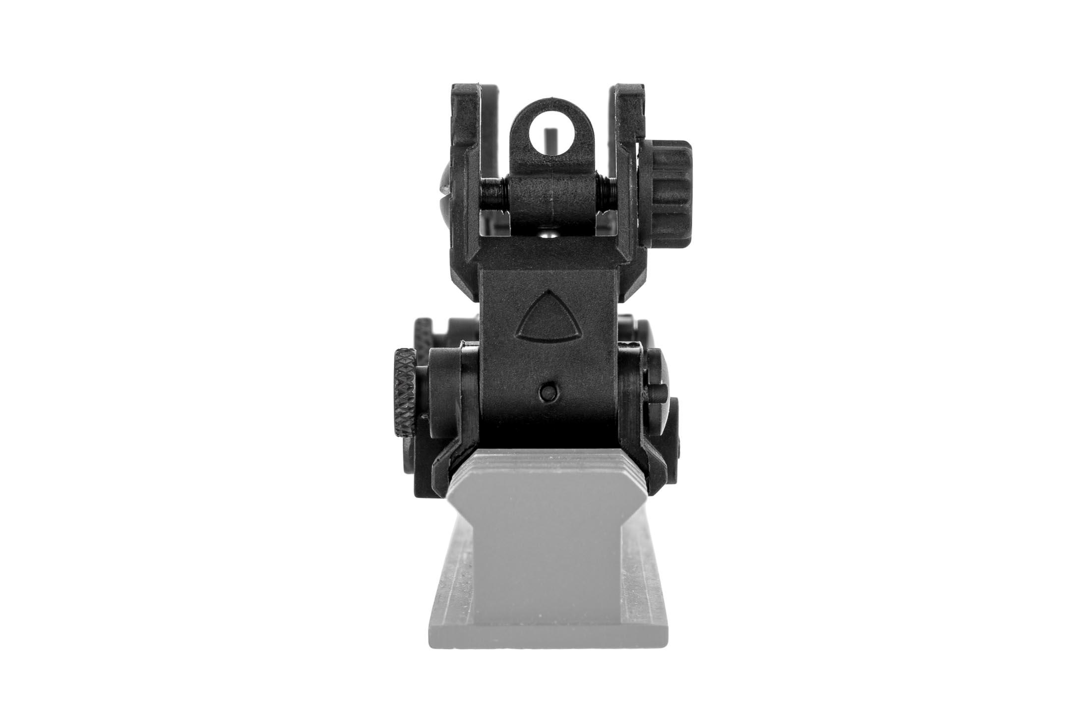 The Gun Tec USA EZ folding back up sights feature a dual aperture rear