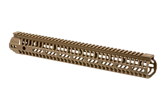 The Odin Works 15.5 M-LOK handguard features a flat dark earth Cerakote finish