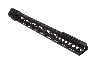 "Odin Works 17.5"" R2 free float M-LOK rail in black anodized finish."