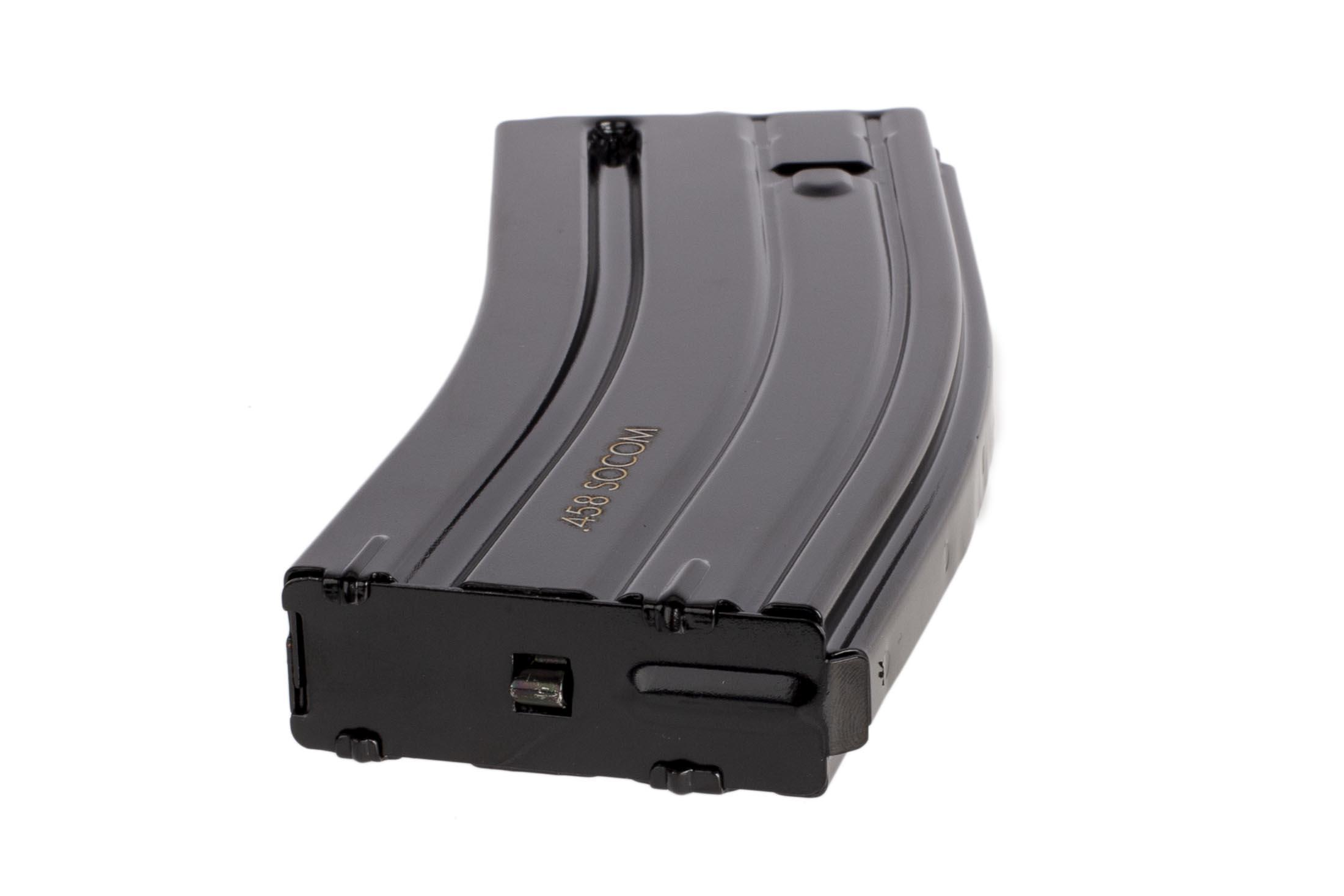The Radical Firearms 458 SOCOM 10 round magazine has a stainless steel follower spring