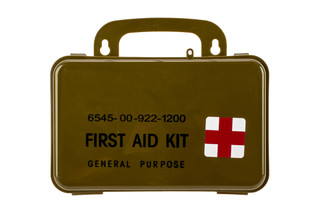 The Red Rock Outdoor Gear First Aid Kit comes in a hard plastic case and holds everything you need
